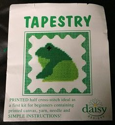 Frog Tapestry kits for children. Cross stitch kits for kids of all ages.