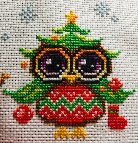 Christmas tree cross stitching owl with stockings, baubles and a star. Christmas Owls Cross-stitching project