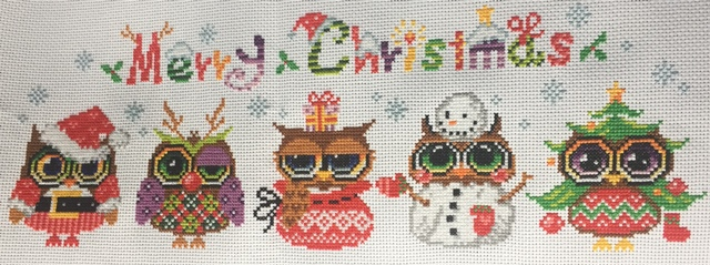 Christmas Owls Cross-Stitching Project. Merry Chrstmas, Xmas owls!
