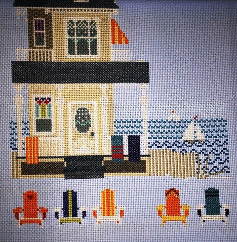 A Summer Place Cross stitch kit sea and fence detail.