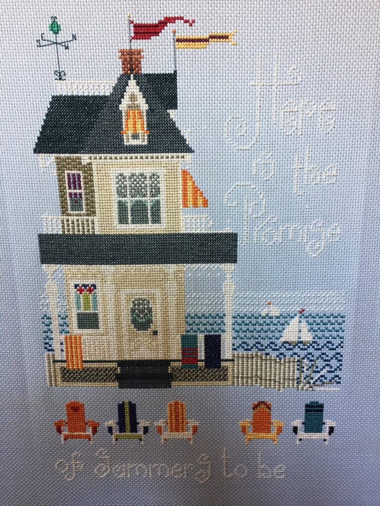 Completed, A Summer Place Cross-Stitch from The Cross-Eyed Cricket collection no 264 by Vicki Hastings.