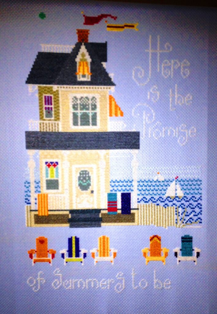Here is the promise of Summers to be. A summer place Cross-Stitch kitby Viki Hastings